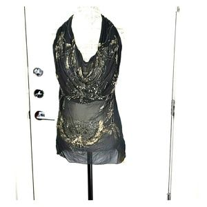 All Saints beaded and sheer sechin top Size 10